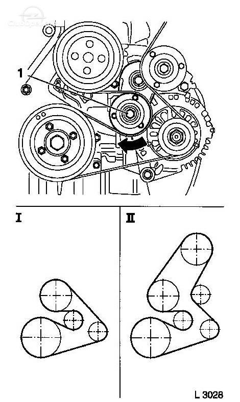 y17dt  schema montaj curea alternator